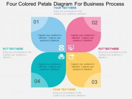 Four Colored Petals Diagram For Business Process Flat Powerpoint Design