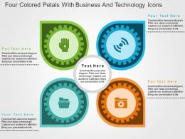 Four Colored Petals With Business And Technology Icons Flat Powerpoint Design