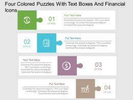 Four Colored Puzzles With Text Boxes And Financial Icons Flat Powerpoint Design