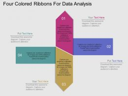 Four Colored Ribbons For Data Analysis Flat Powerpoint Design
