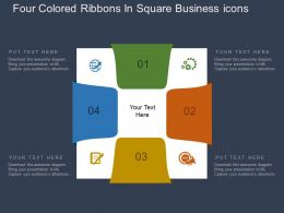 Four Colored Ribbons In Square Business Icons Flat Powerpoint Design