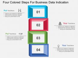 Four Colored Steps For Business Data Indication Flat Powerpoint Design