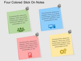 four_colored_stick_on_notes_flat_powerpoint_design_Slide01