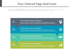 Four Colored Tags And Icons For Business Solutions Flat Powerpoint Design