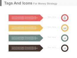 Four Colored Tags And Icons For Money Strategy Powerpoint Slides