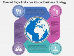 Four Colored Tags And Icons Global Business Strategy Ppt Presentation Slides