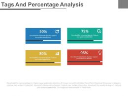 Four Colored Tags And Percentage Analysis Powerpoint Slides