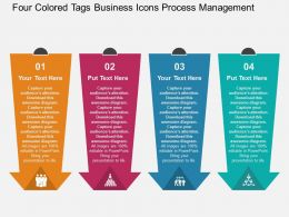 Four Colored Tags Business Icons Process Management Flat Powerpoint Design