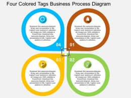 Four Colored Tags Business Process Diagram Flat Powerpoint Design