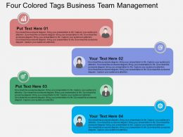Four Colored Tags Business Team Management Flat Powerpoint Design