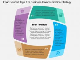 Four Colored Tags For Business Communication Strategy Flat Powerpoint Design