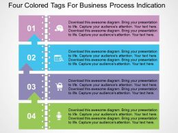 Four Colored Tags For Business Process Indication Flat Powerpoint Design