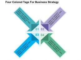 Four Colored Tags For Business Strategy Flat Powerpoint Design