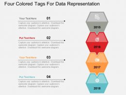 Four Colored Tags For Data Representation Flat Powerpoint Design
