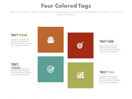 Four Colored Tags For Global Business Target Achievement Powerpoint Slides