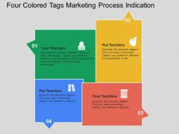 Four Colored Tags Marketing Process Indication Flat Powerpoint Design