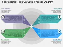 Four Colored Tags On Circle Process Diagram Flat Powerpoint Desgin
