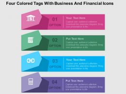 Four Colored Tags With Business And Financial Icons Flat Powerpoint Design