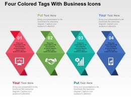 four_colored_tags_with_business_icons_flat_powerpoint_design_Slide01