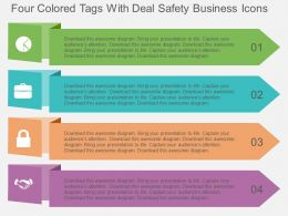 Four Colored Tags With Deal Safety Business Icons Flat Powerpoint Design