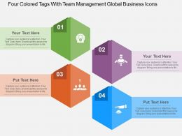 Four Colored Tags With Team Management Global Business Icons Flat Powerpoint Design