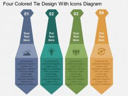 Four Colored Tie Design With Icons Diagram Flat Powerpoint Design