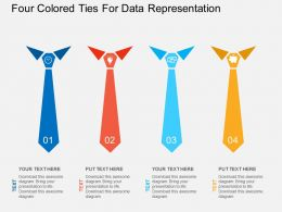 four_colored_ties_for_data_representation_flat_powerpoint_desgin_Slide01