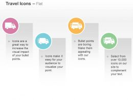 Four Colored Trucks Free Delivery 24 Hours And 7 Days Strategy Ppt Icons Graphics