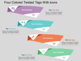 Four Colored Twisted Tags With Icons Flat Powerpoint Design