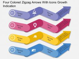 Four Colored Zigzag Arrows With Icons Growth Indication Flat Powerpoint Desgin