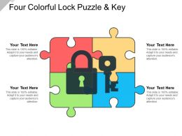 Four Colorful Lock Puzzle And Key