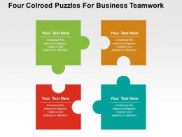 Four Colored Puzzles For Business Teamwork Flat PowerPoint Design