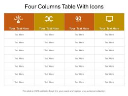 Four Columns Table With Icons