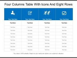 Four Columns Table With Icons And Eight Rows