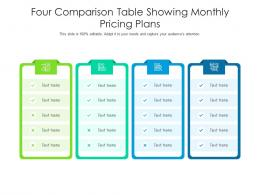 Four Comparison Table Showing Monthly Pricing Plans Infographic Template
