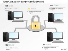 Four Computers For Secured Network Ppt Slides