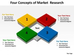 four concepts of market research shown by colorful flat boxes powerpoint templates 0712