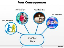 four consequences that can be shown by images inserted into circles powerpoint templates 0712