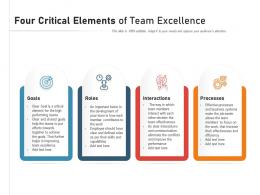 Four Critical Elements Of Team Excellence
