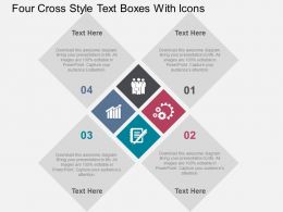 Four Cross Style Text Boxes With Icons Flat Powerpoint Design