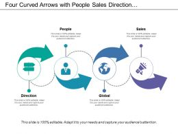 Four Curved Arrows With People Sales Direction And Global Icons