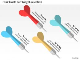 Four Darts For Target Selection Flat Powerpoint Design