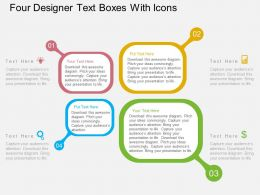 Four Designer Text Boxes With Icons Flat Powerpoint Design