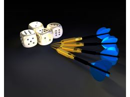 Four Dices With Arrows Target Business Stock Photo