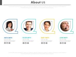 Four Different Peoples Profiles For About Us Powerpoint Slides