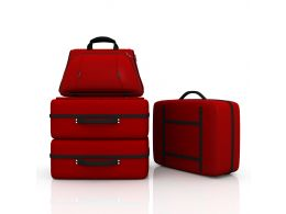 Four Different Style Suitcase Stock Photo