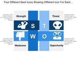 Four Different Swot Icons Showing Different Icon For Each Category