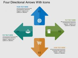 Four Directional Arrows With Icons Flat Powerpoint Design