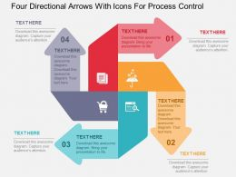 Four Directional Arrows With Icons For Process Control Flat Powerpoint Design