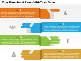Four Directional Hands With Team Icons Flat Powerpoint Design